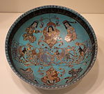 Bowl with seated figures and sphinxes, Mina'i ware, Central Iran, Seljuk period, late 12th or early 13th century, earthenware with polychrome enamels and gold over turquoise glaze - Cincinnati Art Museum - DSC04015.JPG