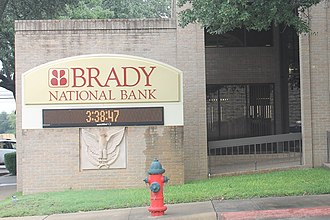 Brady, Texas - The Brady National Bank is located about the courthouse square.