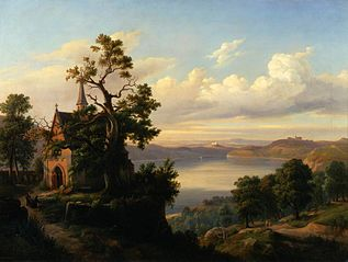 Landscape with a lake and a Gothic church.