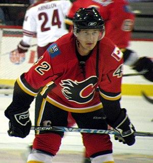 Calgary Flames prospect Brett Sutter during wa...