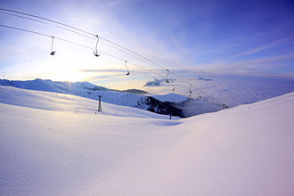 Brezovica ski resort is one of the most visited winter tourist destinations in Kosovo. Brezovica run.jpg