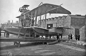 Bristol Scout on Felixstowe Porte Baby first composite aircraft 1916.jpg