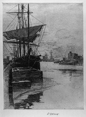 Charles A. Platt - A marine etching from Platt's early period after he studied under Stephen Parrish