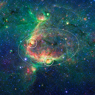 Citizen science - An NASA/JPL image from the Zooniverse's The Milky Way Project showing a hierarchical bubble structure