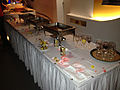Buffet table at the Wikimania 2013 welcome party at Sky100 - 20130808.jpg