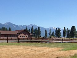 Building at Salish Kootenai College and Mission Mountains 20130723.JPG