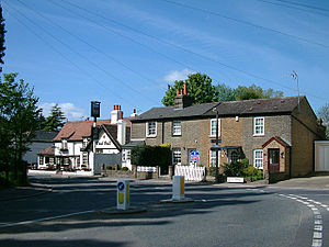 Bulls Cross - Bulls Cross cottages with the Pied Bull public house in background