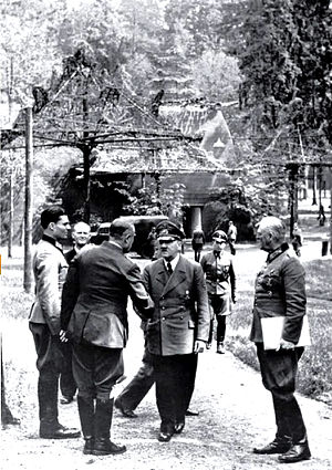 20 July plot - At Rastenburg on 15 July 1944. Stauffenberg at left, Hitler center, Keitel on right. The person shaking hands with Hitler is General Karl Bodenschatz, who was seriously wounded five days later by Stauffenberg's bomb.