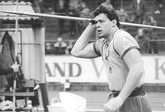 "Javelin throw - Uwe Hohn (pictured in 1984) holds the ""eternal world record"" with a throw of 104.80 m as a new type of javelin was implemented in 1986."