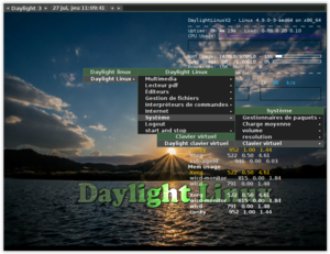 Daylight Linux - Desktop of Daylight Linux Version 2 with the menus of the interface fluxbox