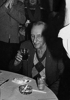 William Gibson - William S. Burroughs at his 70th birthday party in 1984. Burroughs, more than any other beat generation writer, was an important influence on the adolescent Gibson.