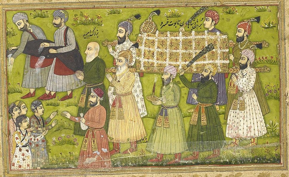 Buzurjumid leading funeral procession - Khusrau u Shirin by Nizami (1726), f.95v - BL Or.2933
