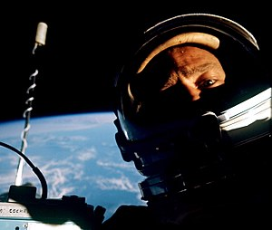 Selfie - Buzz Aldrin took the first EVA selfie in 1966.