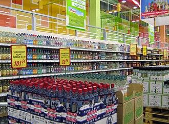 Vodka - A large selection of vodkas at a hypermarket near Nizhny Novgorod, Russia.