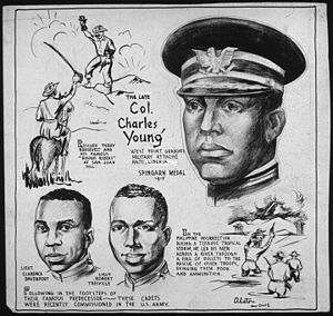 Charles Young (United States Army) - Charles Young cartoon by Charles Alston, 1943