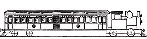 CSAR Railmotor - Side view drawing of Railmotor no. M2