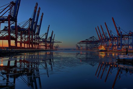 The Port of Hamburg on the river Elbe CTB-CTW Port of Hamburg-Waltershof.jpg