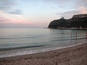 Golfo di Cagliari - Sella del Diavolo (Devil's saddle) promontory seen from the Poetto beach near Cagliari.