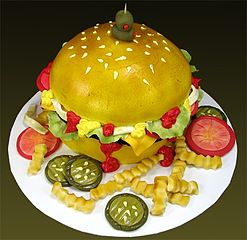 a cake sculpted to look like a cheeseburger with fries - Cake Decorations
