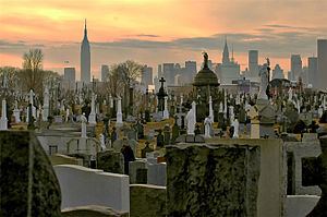 Calvary Cemetery (Queens, New York) - A view of the cemetery showing Manhattan skyline in the background