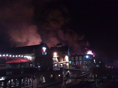 London's Camden Market in flames