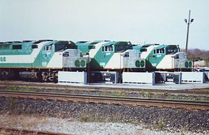 Milton line - Milton line locomotives at rest in the Campbellville yard. (circa 1990)