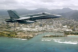 New Fighter Aircraft Project - A Canadian CF-18, winner of the NFA Project, flies off the coast of Hawaii.
