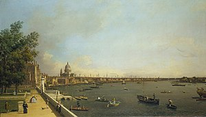 Somerset House - The view from the river terrace towards St Paul's Cathedral painted by Canaletto