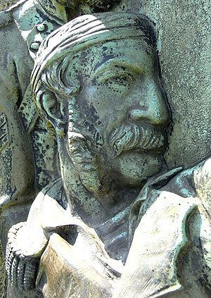 William Morris (British Army officer) - Captain William Morris, detail from 1860 bronze relief sculpted by Edward Bowring Stephens, on his monumental obelisk on Hatherleigh Moor, Devon