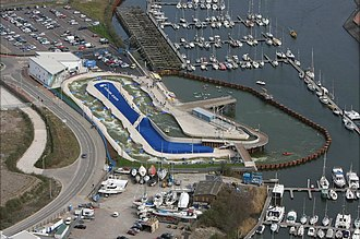 Cardiff International White Water - Aerial view of the artificial river and pond