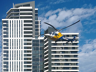 CareFlight - A CareFlight AW109 helicopter on take-off from Sydney Olympic Park