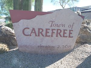 Carefree, Arizona - Welcome to the town of Carefree Marker .