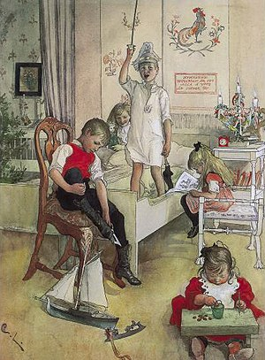 """Ljuskrona - Carl Larsson: """"Christmas Morning"""" (1894)  Ljustaken on table on right rear of this painting"""