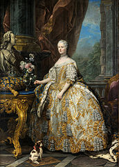 Marie Leszczyńska (23 June 1703 – 24 June 1768) was a Polish noblewoman and French queen consort. The daughter of King Stanisław I Leszczyński of Poland and Catherine Opalińska, she married King Louis XV of France in 1725 and became queen consort of France, serving in that role for 42 years until her death, the longest of any French queen. Marie was popular due to her generosity and piety. She was the grandmother of future French kings Louis XVI, Louis XVIII and Charles X.This picture is an oil-on-canvas portrait of Marie by French painter Charles-André van Loo, commissioned by Louis XV in 1747. She is depicted wearing the Sancy diamond, part of the French Crown Jewels. The painting now hangs in the Palace of Versailles.