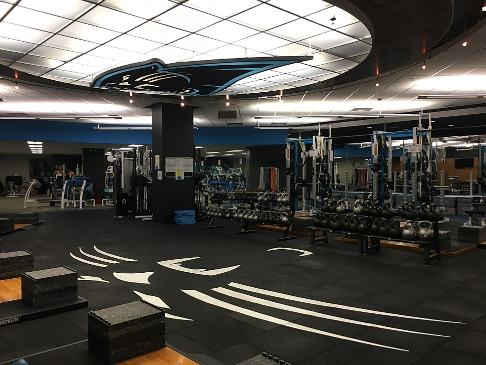 Carolina Panthers weight and training room inside of Bank of America Stadium