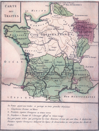 Labourd - Status of French customs in 1732 roughly clinging to linguistic boundaries; Labourd including Bayonne shows an autonomous fiscal system