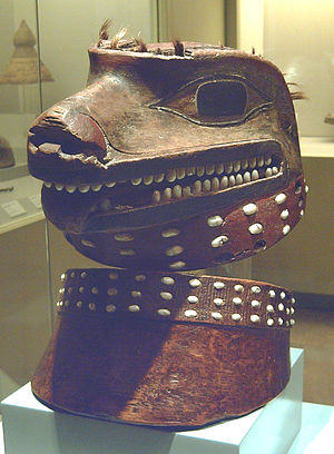 Wolves in folklore, religion and mythology - Helmet and collar representing a wolf, at the Museum of the Americas in Madrid. Made of wood, shell and made in the 18th century by tlingit indigenous people, from the North American Pacific Northwest Coast. Tlingit people admired and feared wolves for their strength and ferocity.