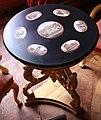 Castello di miramare, sala dei regnanti, tavolino con vedute di roma a micromosaico, donato da pio IX, dove massimiliano firmò per il trono del messico.jpg