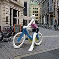 """Cat on a bike sculpture.""""La Cycliste"""", Alain Séchas, 2005, the corner of rue Montagne-aux-Herbes-Potagères - panoramio.jpg"""
