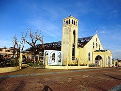 St. James the Apostle Parish Church of Cateel. Shown is the church just after the town was hit hard by the Typhoon Bopha of December 2012.