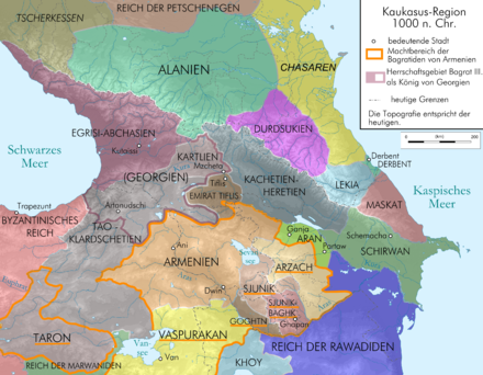 Map of Caucasus region at 1000 AD before death of David III of Tao. Caucasus 1000 map de.png