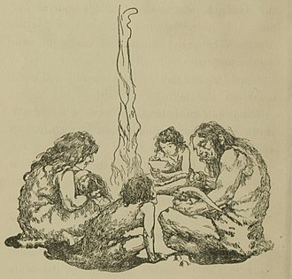 Caveman - Cave family at a meal, illustration by Irma Deremeaux for The Cave Boy of the Age of Stone (1907)