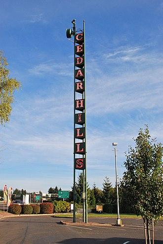 Cedar Hills, Oregon - The neon sign tower at the Cedar Hills Shopping Center is a local landmark.