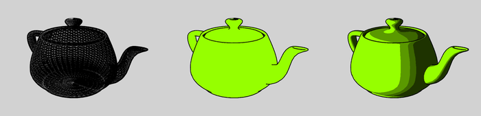 The Utah Teapot rendered using cel-shading.