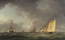 Charles Brooking: Cutter Close Hauled in a Fresh Breeze, with Other Shipping