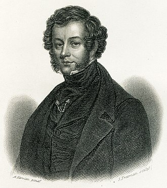 Charles Elmé Francatelli - Engraving of Francatelli drawn by Auguste Hervieu and engraved by Samuel Freeman, probably in 1846, Frontispiece to The Modern Cook, 1845