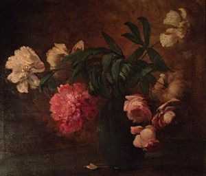 Charles Ethan Porter - Still Life with Vase of Pink and White Peonies, oil on canvas