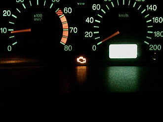 Check engine light - MIL on a running engine indicating malfunction in engine control system.