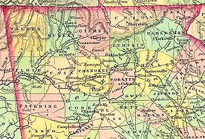 Cherokee County, Georgia - 1834 map of counties created from Cherokee land