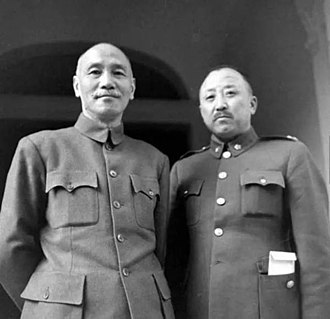Wei Lihuang - President of China Chiang Kai-Shek (left) with Wei Lihuang